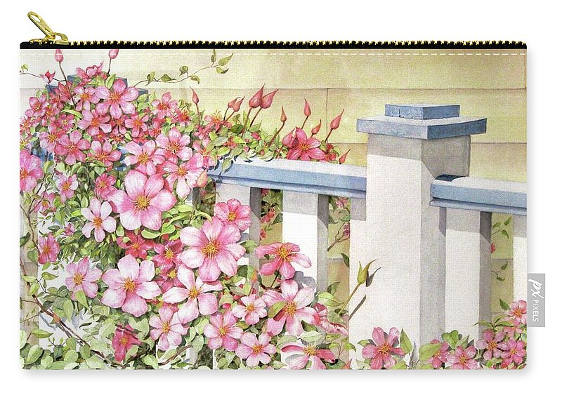 Florals Carry-all Pouch featuring the painting My Porch Railing by Mary Ellen Mueller Legault