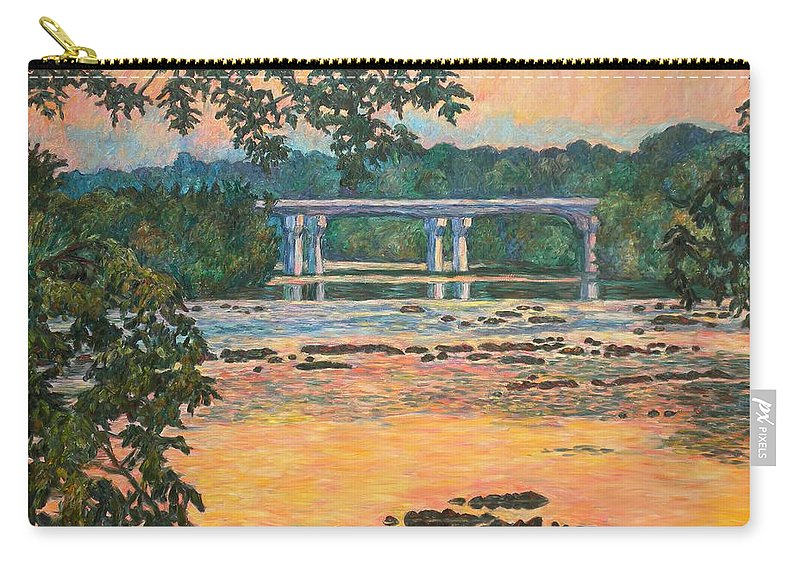 Landscape Carry-all Pouch featuring the painting New Memorial Bridge at Dusk by Kendall Kessler