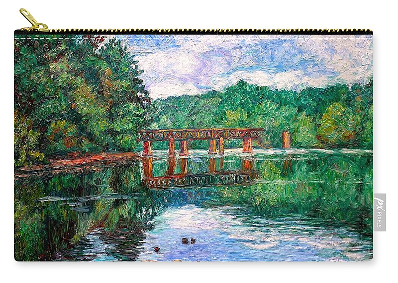 Landscape Carry-all Pouch featuring the painting New River Trestle by Kendall Kessler