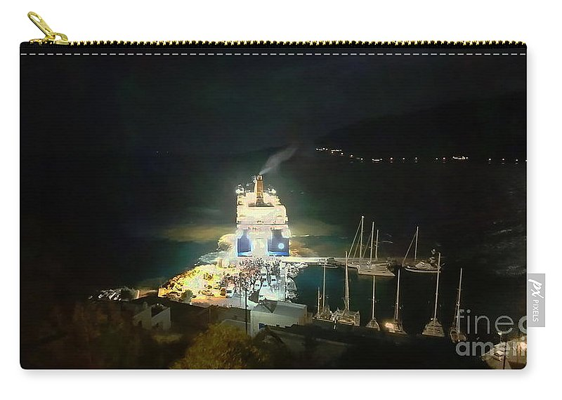 Ferry Carry-all Pouch featuring the photograph Night ferry at Tilos, paint effect 1 by Paul Boizot