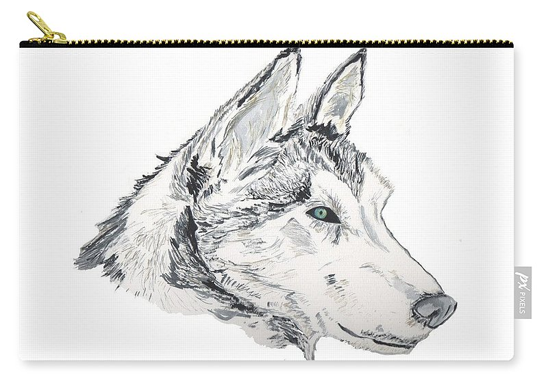Wolf Carry-all Pouch featuring the painting Noble Soul by Crystal Hubbard