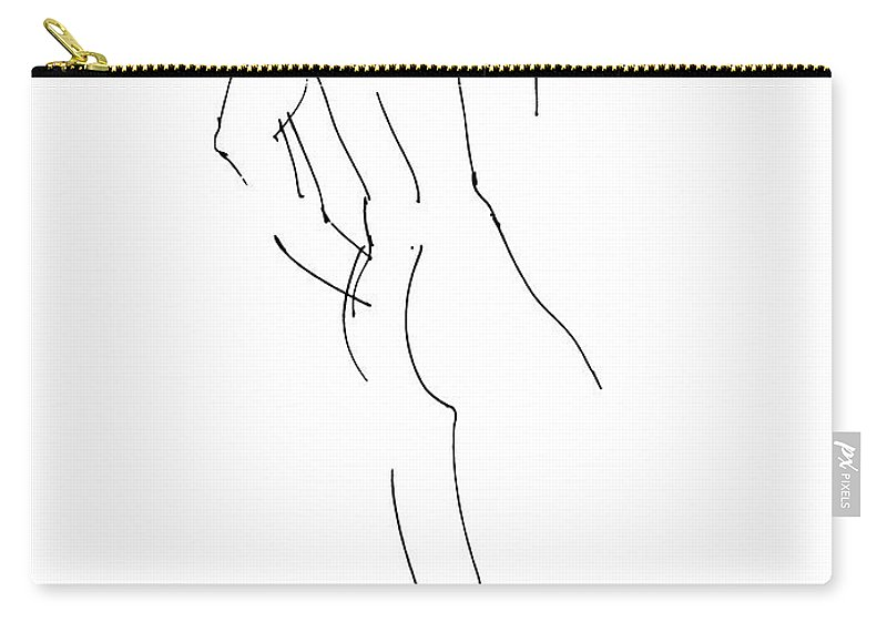 Male Carry-all Pouch featuring the drawing Nude Male Drawings 2 by Gordon Punt