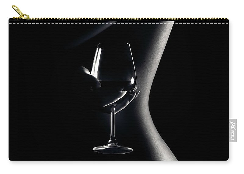 Woman Carry-all Pouch featuring the photograph Nude woman red wine 3 by Johan Swanepoel