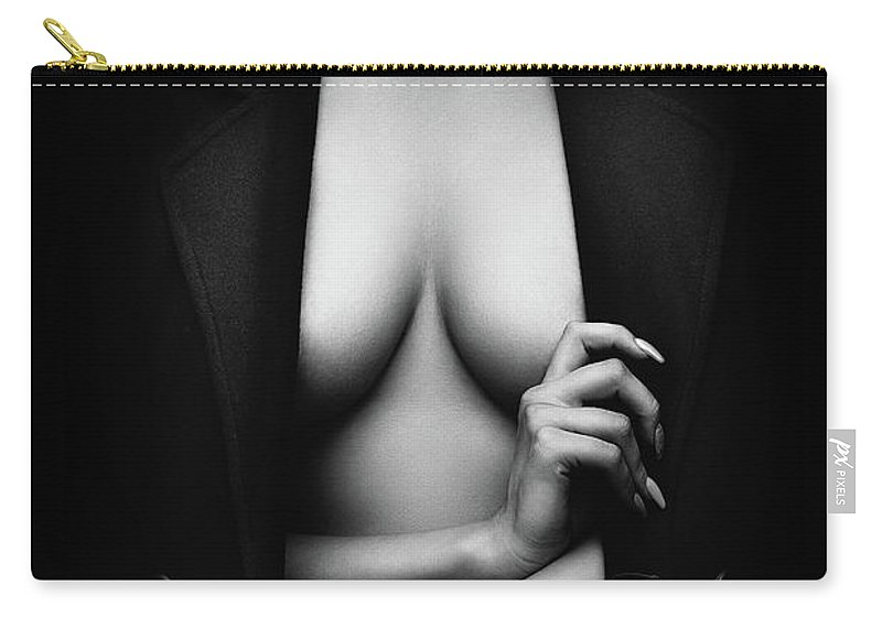 Woman Carry-all Pouch featuring the photograph Nude Woman with jacket 1 by Johan Swanepoel