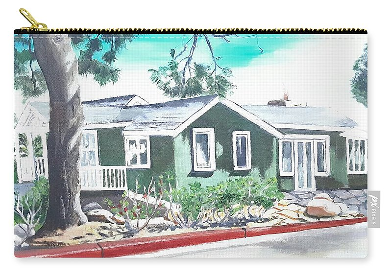 Landscape Carry-all Pouch featuring the painting Ocean Front House by Andrew Johnson