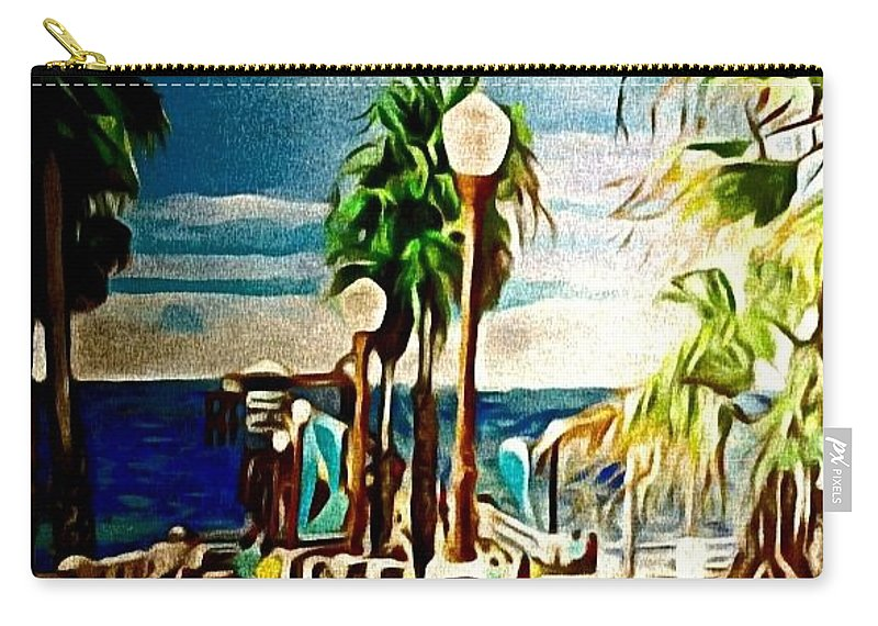 Landscape Carry-all Pouch featuring the painting Oceanside Peir by Andrew Johnson