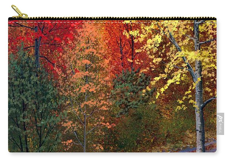 Landscape Carry-all Pouch featuring the painting October Road by Frank Wilson