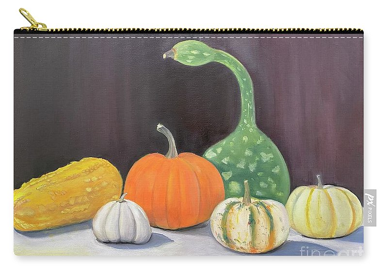Pumpkin Carry-all Pouch featuring the painting Oh My Gourd by Sheila Mashaw
