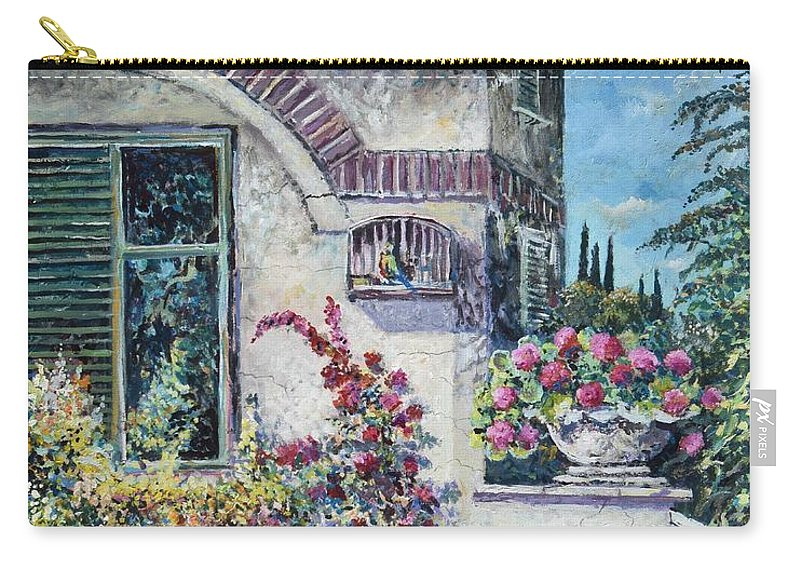 Original Painting Carry-all Pouch featuring the painting On The Porch by Sinisa Saratlic