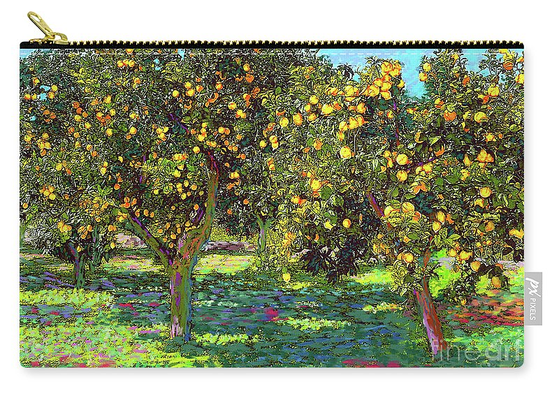 Landscape Carry-all Pouch featuring the painting Orchard of Lemon Trees by Jane Small