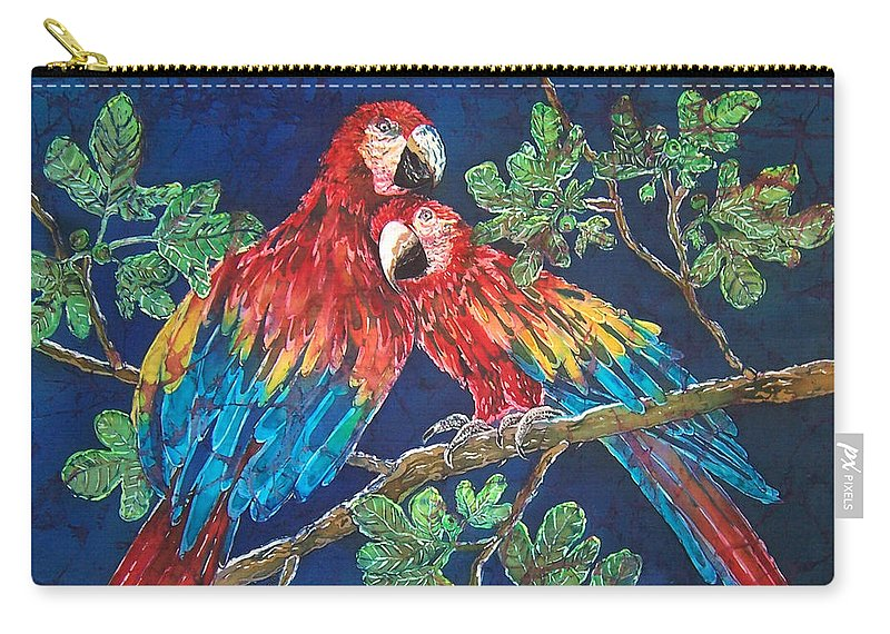 Macaws Carry-all Pouch featuring the painting Out on a Limb - Macaws Parrots by Sue Duda