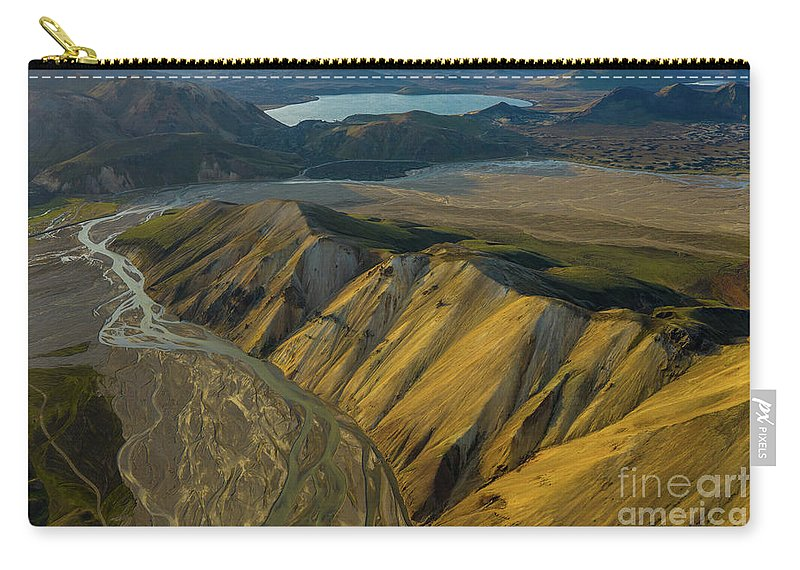 Iceland Carry-all Pouch featuring the photograph Over Iceland Barmur Ridge Dusk Light by Mike Reid