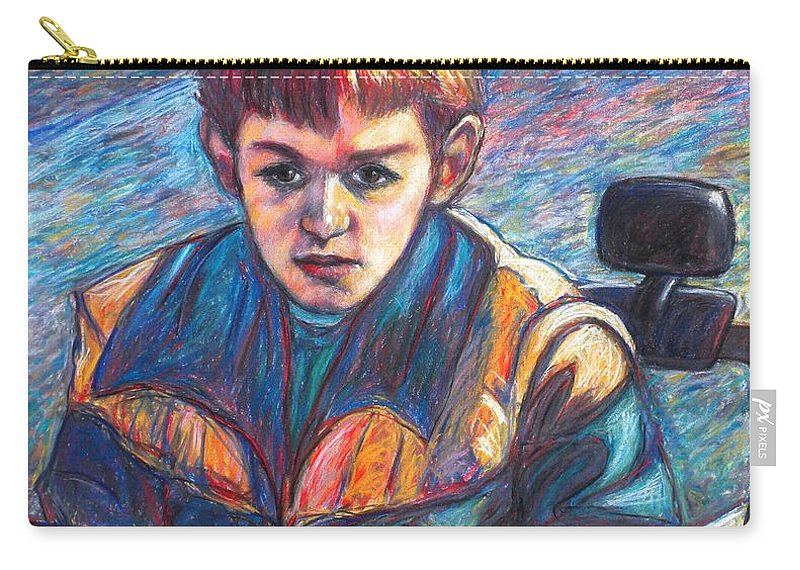 Impressionism Carry-all Pouch featuring the painting Paul in Alans Jeep by Kendall Kessler
