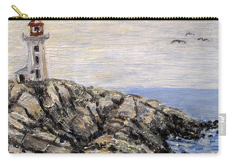 Lighthouse Carry-all Pouch featuring the painting Peggys Cove Nova Scotia Lighthouse by Ian MacDonald