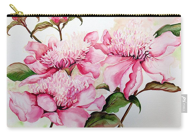 Flower Painting Flora Painting Pink Peonies Painting Botanical Painting Flower Painting Pink Painting Greeting Card Painting Pink Peonies Carry-all Pouch featuring the painting Peonies by Karin Dawn Kelshall- Best