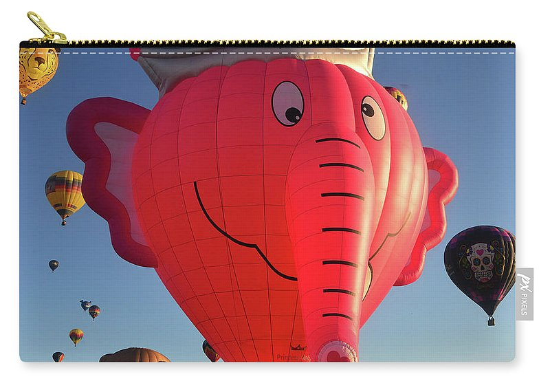 Pink Carry-all Pouch featuring the photograph Pink Elephant At The Balloon Fiesta by David Lee Thompson