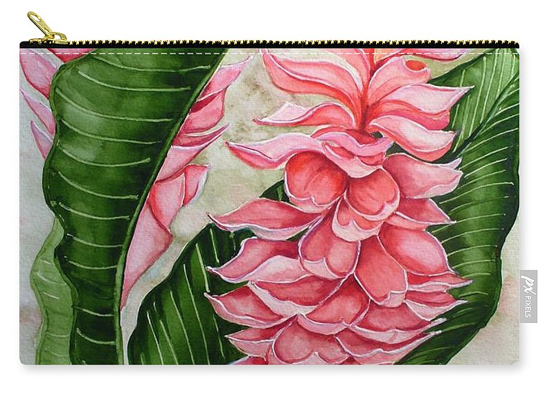 Flower Painting Floral Painting Botanical Painting Ginger Lily Painting Original Watercolor Painting Caribbean Painting Tropical Painting Carry-all Pouch featuring the painting Pink Ginger Lilies by Karin Dawn Kelshall- Best