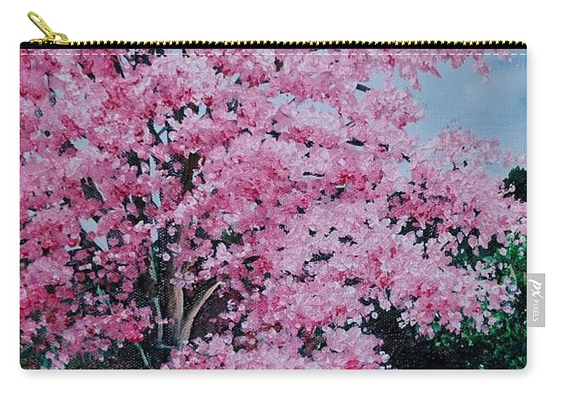 Pink Poui Carry-all Pouch featuring the painting Pink P Poui by Karin Dawn Kelshall- Best