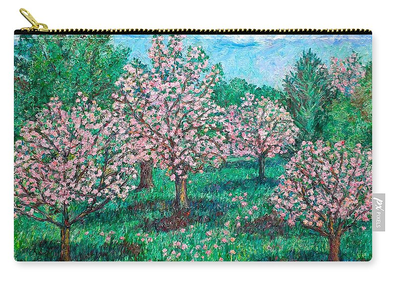Landscape Carry-all Pouch featuring the painting Pink Wave by Kendall Kessler