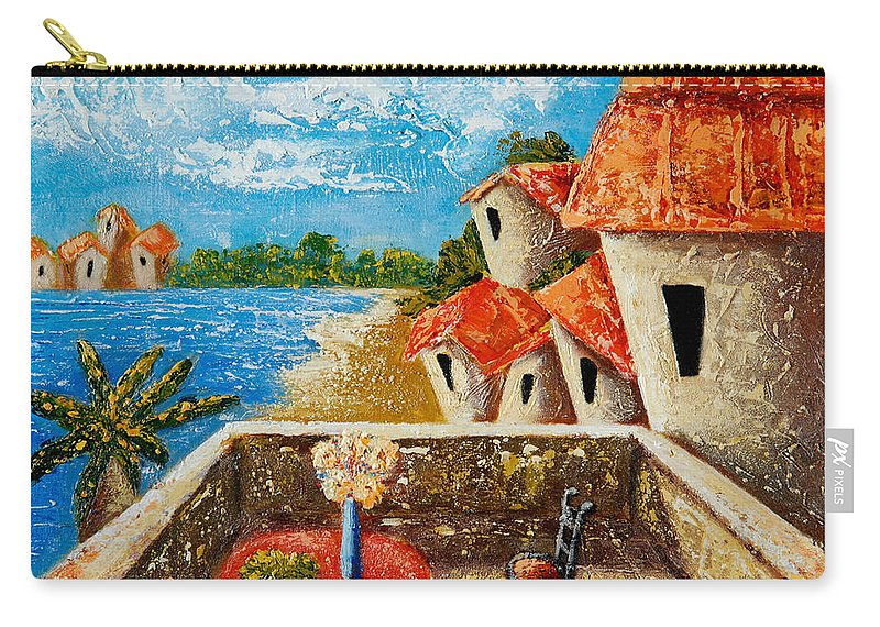 Landscape Carry-all Pouch featuring the painting Playa Gorda by Oscar Ortiz