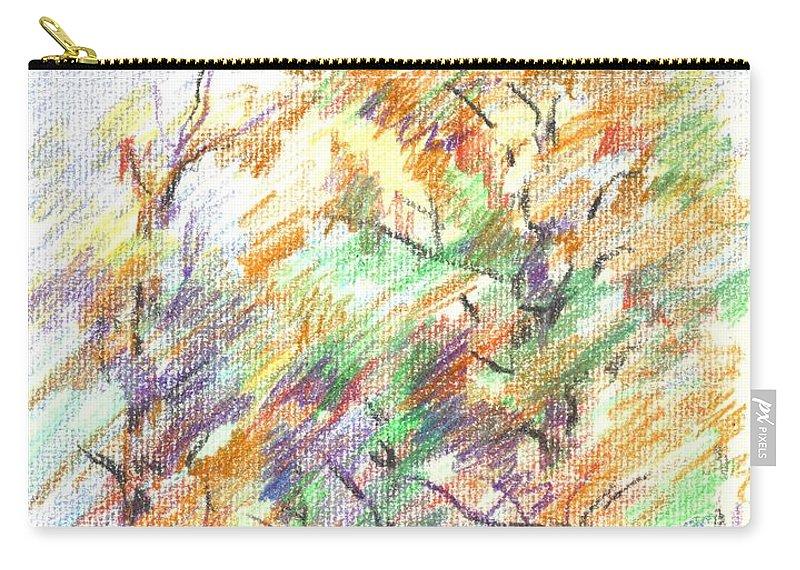 Pleasant Autumn In Brigadoon C104 Carry-all Pouch featuring the painting Pleasant Autumn in Brigadoon C104 by Kip DeVore