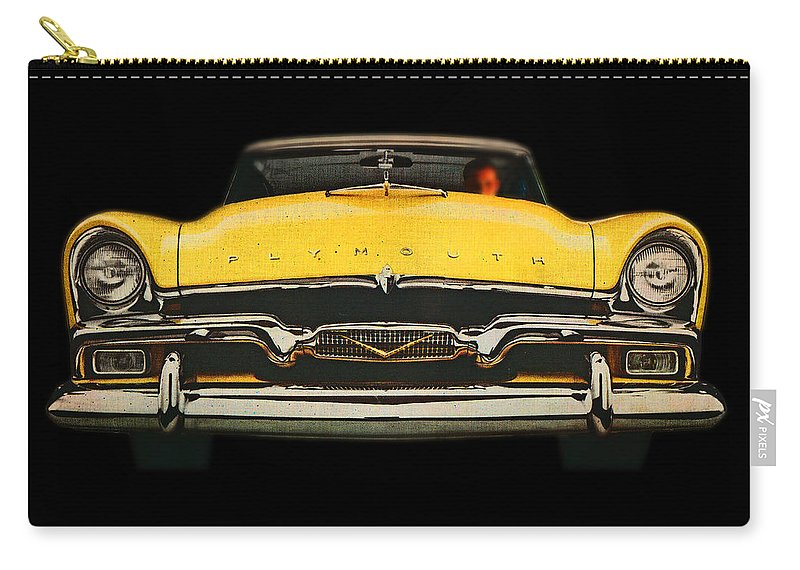 Big Yellow Plymouth Carry-all Pouch featuring the digital art Plymouth by Charles Stuart