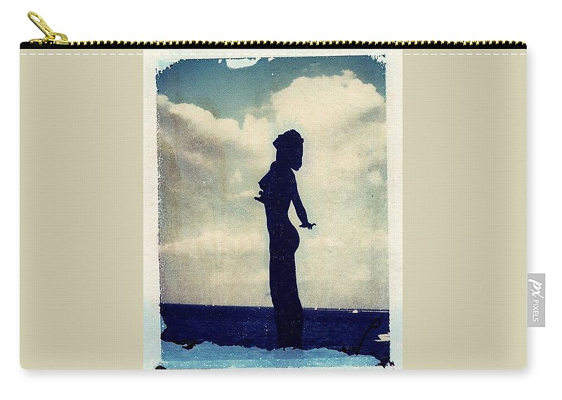 Woman Carry-all Pouch featuring the photograph Polaroid Transfer Woman by Jane Linders