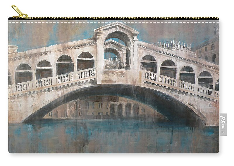 Rialto Bridge Carry-all Pouch featuring the painting Ponte di Rialto by Leigh Banks