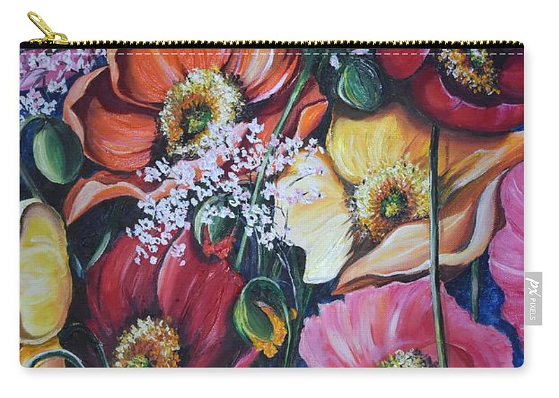 Poppies Carry-all Pouch featuring the painting Poppies Delight by Karin Dawn Kelshall- Best