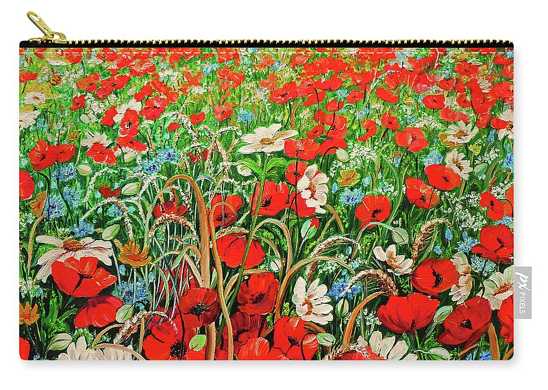 Floral Painting Flower Painting Red Poppies Painting Daisy Painting Field Poppies Painting Field Poppies Floral Flowers Wild Botanical Painting Red Painting Greeting Card Painting Carry-all Pouch featuring the painting Poppies In The Wild by Karin Dawn Kelshall- Best