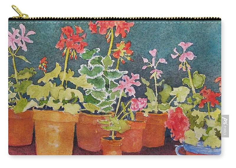 Florals Carry-all Pouch featuring the painting Potting Shed by Mary Ellen Mueller Legault