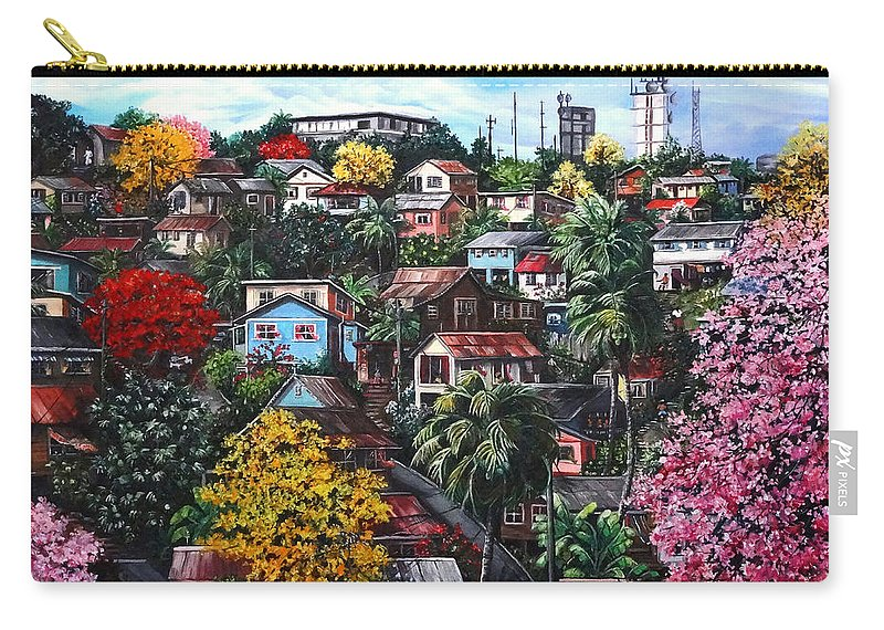 Landscape Painting Cityscape Painting Caribbean Painting Houses Hill Life Color Trees Poui Blossoms Trinidad And Tobago Floral Tropical Caribbean Carry-all Pouch featuring the painting Poui Calling For The Rains by Karin Dawn Kelshall- Best
