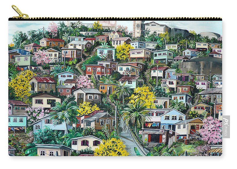 Landscape Painting Cityscape Painting Original Oil Painting  Blossoming Poui Tree Painting Lavantille Hill Trinidad And Tobago Painting Caribbean Painting Tropical Painting Carry-all Pouch featuring the painting Poui On The Hill by Karin Dawn Kelshall- Best