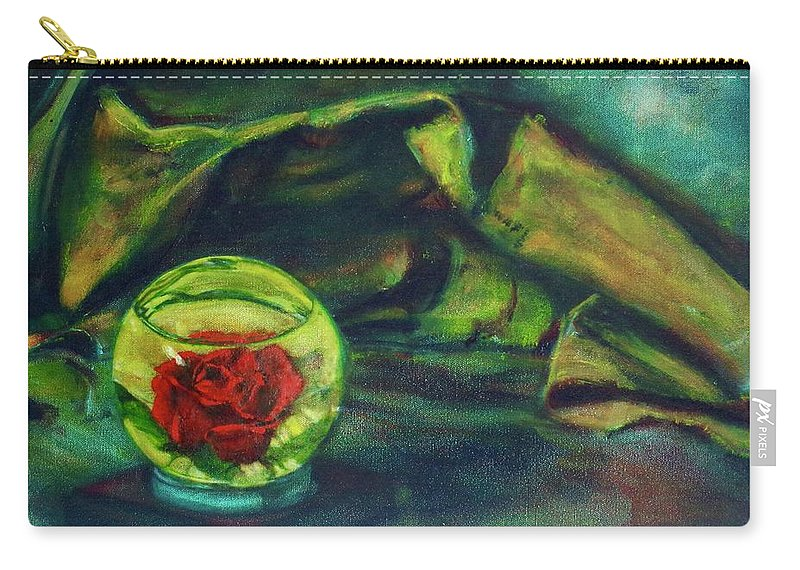 Oil Painting On Canvas Carry-all Pouch featuring the painting Preserved Rose . . Draped Canvas by Sean Connolly