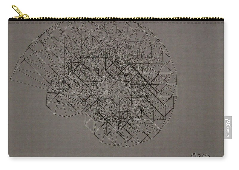 Fractal Carry-all Pouch featuring the drawing Quantum Sea Shell by Jason Padgett