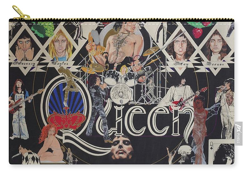 Queen Carry-all Pouch featuring the drawing Queen - Black Queen White Queen by Sean Connolly