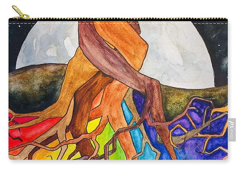 Rainbow Carry-all Pouch featuring the painting Rainbow Soil with Moon by Vonda Drees