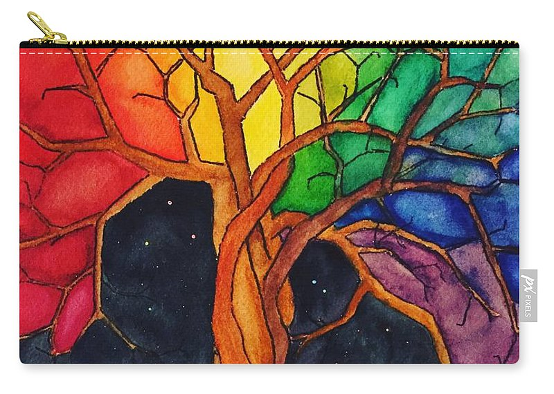 Rainbow Carry-all Pouch featuring the painting Rainbow Tree with Night Sky by Vonda Drees