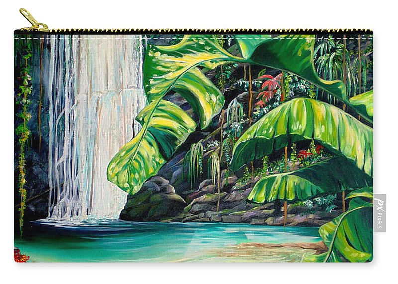 Water Fall Painting Landscape Painting Rain Forest Painting River Painting Caribbean Painting Original Oil Painting Paria Northern Mountains Of Trinidad Painting Tropical Painting Carry-all Pouch featuring the painting Rainforest Falls Trinidad.. by Karin Dawn Kelshall- Best