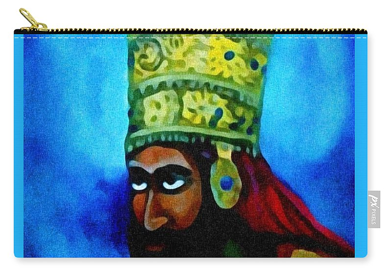 Painting Of Rastafari Carry-all Pouch featuring the painting Rastafari by Andrew Johnson
