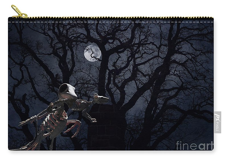 Raven Carry-all Pouch featuring the photograph Raven and Rat Skeleton in Moonlight - Halloween by Colleen Cornelius