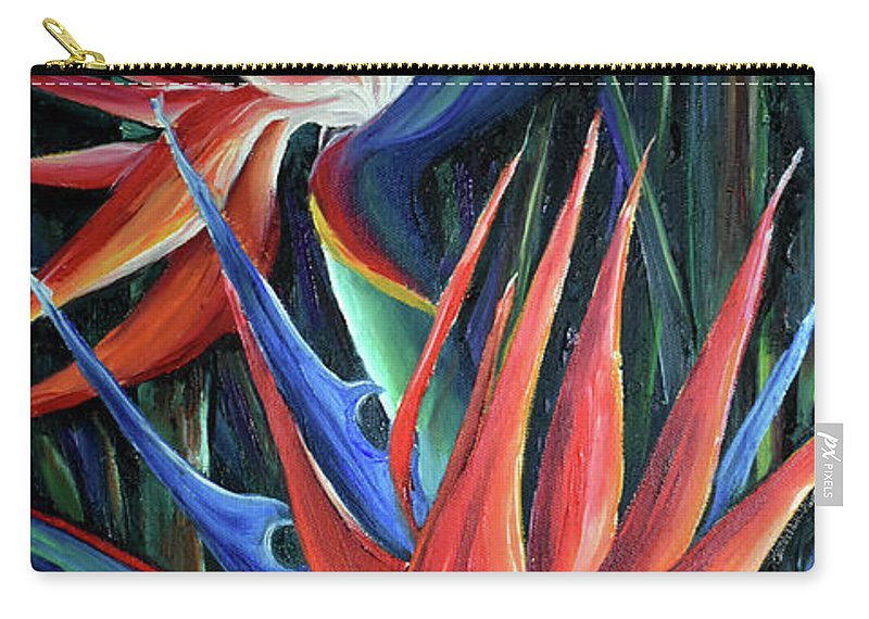 Strelitzia Reginae  Tropical Lily Carry-all Pouch featuring the painting Red Birds Of Paradise by Karin Dawn Kelshall- Best