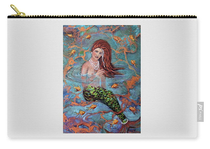 Blue Carry-all Pouch featuring the painting Red Headed Mermaid Ophelia Painting by Linda Queally by Linda Queally
