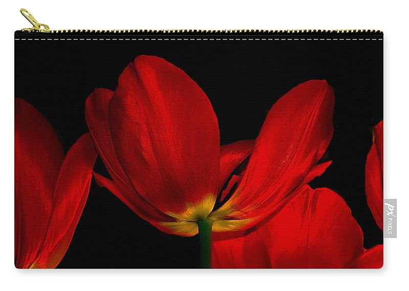 Flowers Carry-all Pouch featuring the photograph Red Silk by Linda Sannuti