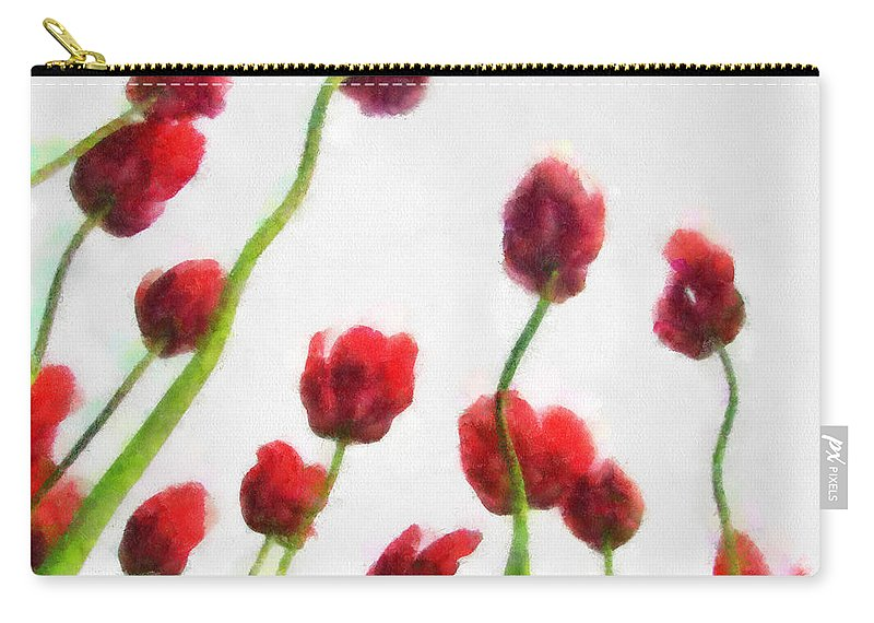Hollander Carry-all Pouch featuring the photograph Red Tulips from the Bottom Up ll by Michelle Calkins