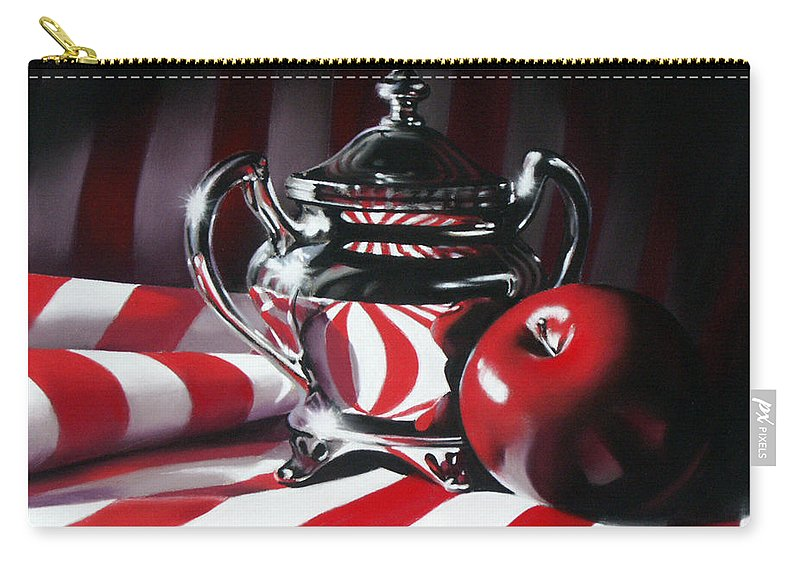 Apple Carry-all Pouch featuring the pastel Red White And Apple by Dianna Ponting