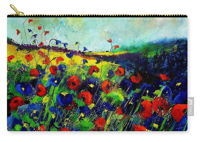 Flowers Carry-all Pouch featuring the painting Reda nd blue poppies 68 by Pol Ledent