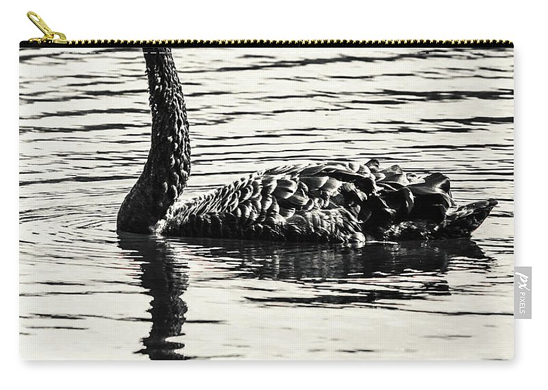 Black Carry-all Pouch featuring the photograph Reflective Black Swan by Jorgo Photography - Wall Art Gallery