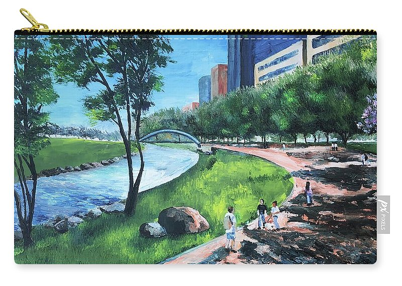 River Carry-all Pouch featuring the painting Riverwalk by Lauren Luna