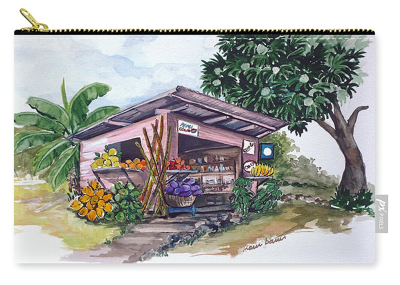 Caribbean Painting Little Shop Fruit & Veg Shop Painting Caribbean Tropical Painting Greeting Card Painting Carry-all Pouch featuring the painting Roadside Vendor by Karin Dawn Kelshall- Best